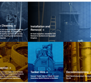 Merkland Tank Services Tiles on New Website